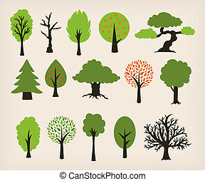 Cartoon trees - Collection of different trees cartoon