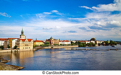 Amazing Vltava River from Charles Bridge
