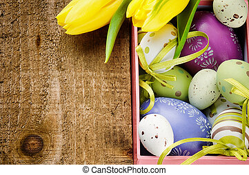 Colorful Easter eggs in festive setting
