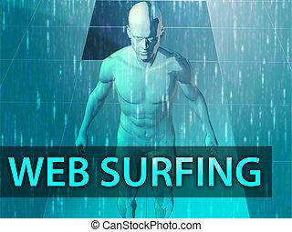 Web surfing illustration, digital virtual avatar abstract