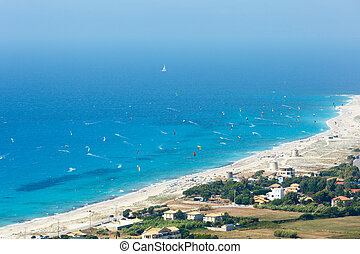 Sea coast and kiteboarders - Beautiful summer Lefkada coast...