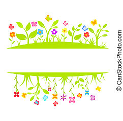 Spring border - Spring flowers and butterflies border Vector...