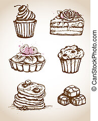 Vintage hand drawn cakes - Set of vintage hand drawn cakes...