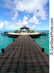 Wooden walkway at Kapalai island in the middle of the ocean