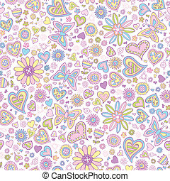 Springtime Flower Seamless Pattern Vector Art