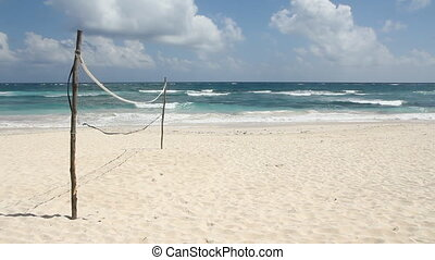 Volleyball court on the beach.