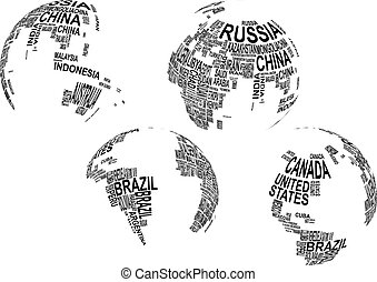 text globe - illustration of world map globe with country...