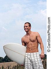 plage, manière, surfeur