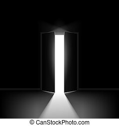 Double open door. Illustration on black background for...