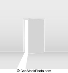 Open door - Abstract open door. Illustration on white...