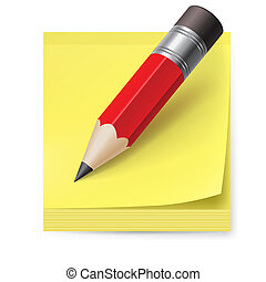 Sticker and pencil - Yellow sticker and pencil. Illustration...