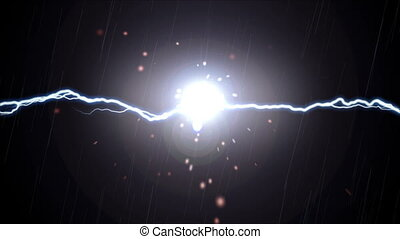 Lightning and Sparks Effect - Sparks fly when bolts of...