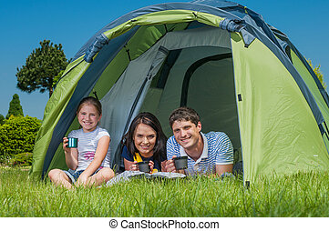 Family camping - Families resting on the grass and camping...