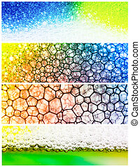 Colourful bubble collage - 4 colorful panels of ink bubbles...