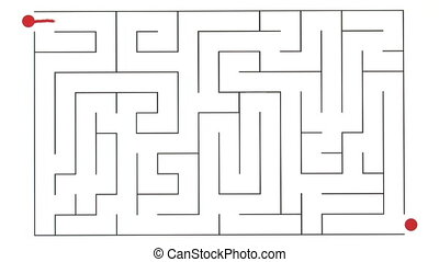 Maze - Line being drawn through a maze to the exit