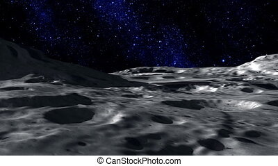 Moon Surface - Surface of the moon, with the earth rising in...