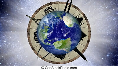 Looping World Travel Animation - A spinning globe with...