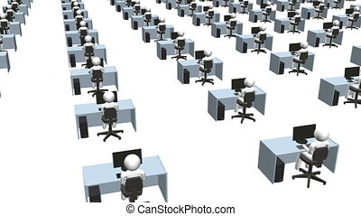 People at Workstations - Rows of people at their desk on a...