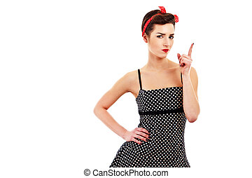 Woman pin-up style on white background with finger