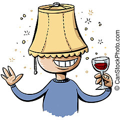 Lampshade Drunk - A drunk cartoon man wears a lampshade on...