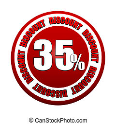 35 percentages discount 3d red circle label - 35 percentages...