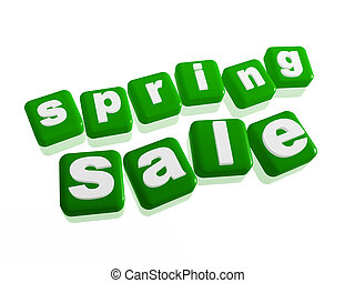 spring sale - text in green cubes - spring sale text - 3d...