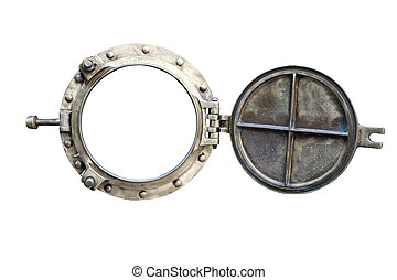 porthole isolated on white - old bronze porthole isolated on...