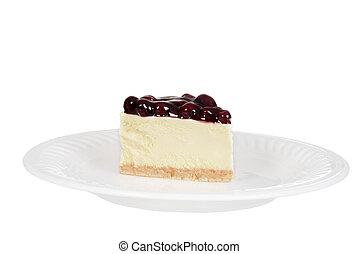 blueberry cheesecake on a plate