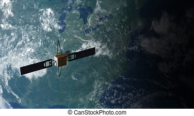 Satellite in Orbit 2 - A satellite floating above the earths...