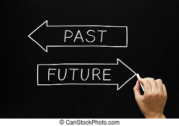 Future or Past - Hand drawing Future concept with white...
