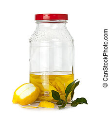 Lemon peel in fermentation - Italian alcoholic beverage -...