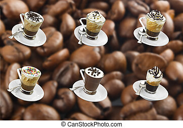 Collage of hot coffee with milk cream and chocolate pieces