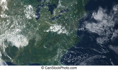 Satellite View - A view of North America from above the...