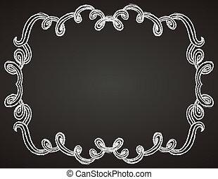 ornamental frame on chalkboard - vector hand-drawn...