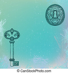 key and keyhole, grunge vector background - vector...