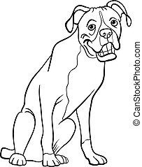 boxer dog cartoon for coloring book - Black and White...