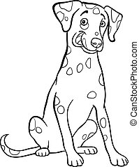 dalmatian dog cartoon for coloring book - Black and White...