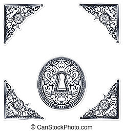 detailed illustration of highly decorated keyhole