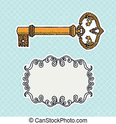 decorative vintage key on checked background
