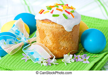 Easter cake and colorful eggs