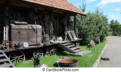 retro tools log house - old retro rural equipment tools...
