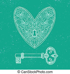 locked heart and key on emerald green background - hand...