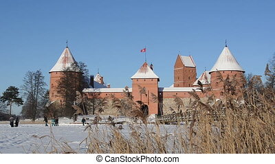 trakai castle people walk