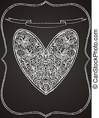 white heart shape on black chalk board - vector illustration...