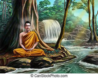 Buddha meditating - Buddha sitting in meditation near a...