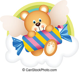Teddy bear angel with candy on the - Scalable vectorial...