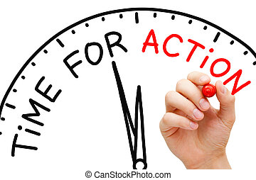 Time for Action - Hand writing Time for Action concept with...