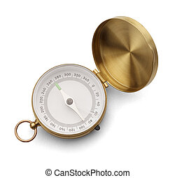 Blank Compass - Brass Compass with Copy Space Isolated on a...