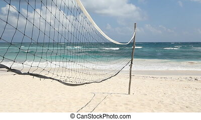 Volleyball net on the beach.