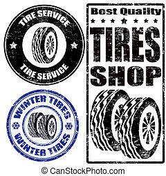 Set of tire stamps - Set of tire grunge ruber stamps on...